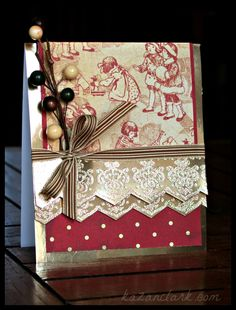 Red & Gold Christmas Card with @JustRite Papercraft, Inc., @Spellbinders and @Graphic 45®