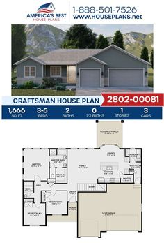 Covered in Craftsman details, Plan 2802-00081 offers 1,666 sq. ft., 3-5 bedrooms, 2 bathrooms, a mud room, a covered porch, and a kitchen island. Learn more about this plan on our website. Craftsman Style Homes, Craftsman House Plans, Architectural Elements, Mudroom, Square Feet, Porch, Floor Plans, House Design, How To Plan