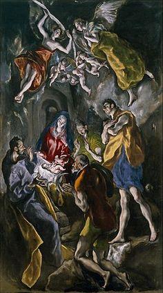 L'adoration des bergers Museo Nacional del Prado, Madrid) d'El Greco Spanish Painters, Spanish Artists, Religious Paintings, Religious Art, Painting Prints, Art Prints, Canvas Prints, The Shepherd, Art Graphique