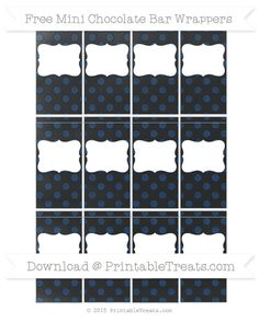 Navy Blue Dotted Pattern  Chalk Style DIY Mini Chocolate Bar Wrappers