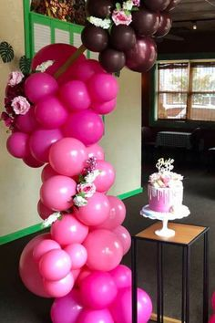 Swoon over this gorgeous bridal shower at CatchMyParty.com! Love the balloon garland! #catchmyparty #partyideas #bridalshower #wedding