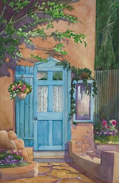 Santa Fe blue door in adobe painting Barbara Ann Spencer Jump