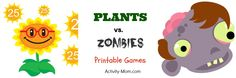 FREE Plants vs. Zombies Themed Printable Games (Sneak in a little learning with a theme they love!)