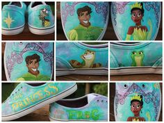 Adorable Princess and the Frog Shoes!  Custom Painted KedsStyle Shoes Made to OrderENTIRE by rachelbdot, $75.00