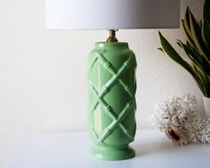 Vintage green ceramic bamboo style table lamp mid by SadRosetta