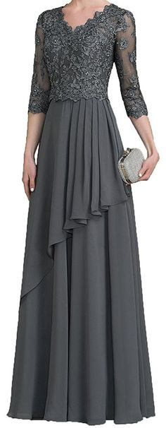 Dislax V-neck Sequined Lace Appliqued Chiffon Mother of the Bride Dresses Prom Gown Grey US 10 at Amazon Women's Clothing store: