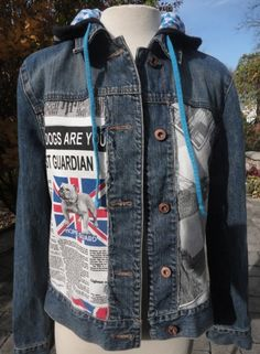 Hand upcycled jeans jacket for Stubborn Jeans with British image fabric brought back from Greece by a dear friend and SJ supporter. Denim Vests, Estilo Denim, Novelty Fabric, Refashion, Couture, Blue Denim, Greece, Dear Friend, Skinny Jeans