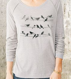 Put a bird on it (that never gets old really) :: Birds & Power Lines Pullover Sweater by Crawlspace Studios