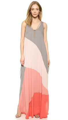 Halston Heritage Colorblock Flowing Gown