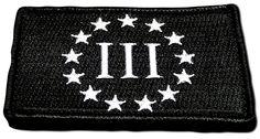 """[Single Count] Custom, Cool & Awesome {3"""" by 2"""" Inches} Small Rectangle Military Combat Three Percenter Surrounding Stars (Tactical Type) Velcro Patch """"Black & White"""""""