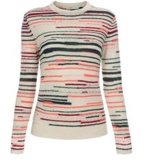 Paul Smith Women's Cream Striped Mohair-Blend Sweater ($210) ❤ liked on Polyvore featuring tops, sweaters, pink sweater, striped top, multi colored sweater, striped crewneck sweater and pink crew neck sweater