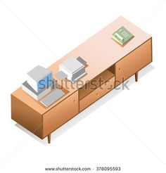 stock-vector-isometric-of-interior-elements-long-wooden-table-icon-vector-with-home-appliances-378095593.jpg (450×470) #HomeAppliancesVector