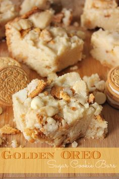 Sugar Cookie Bars made with white chocolate chips and Golden Oreo& Oreo Cookie Bar, Oreo Bars, Sugar Cookie Bars, Cookie Mixes, Cookie Dough, Chocolate Oatmeal Cookies, Oatmeal Cookie Recipes, Chocolate Chips, White Chocolate