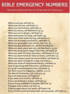 Bible Emergency Numbers - for life's 911 moments