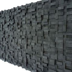 Wall Sculpture  Black Midnight Wood Blocks por TateLowe en Etsy