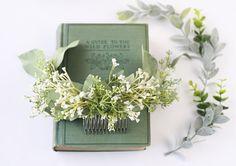 Eucalyptus hair comb greenery half crown Bridal hair vine boho
