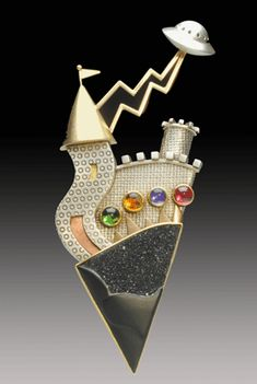 Yumi Ueno, Legend of UFO brooch, drusy onxy, citrine, iolite, tourmaline, 22-, 18-, and 14-karat gold, sterling silver