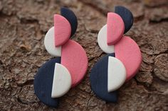 Long statement Pink navy geometric earrings Abstract