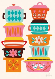 Vintage Enamelware Print ~ Mary Wald's Place - Pyrex Love art print for your happy kitchen by artist jolijou - Andrea Muller Kitchen Prints, Kitchen Art, Happy Kitchen, Illustration Inspiration, Illustration Art, Textile Design, Design Art, Retro Art, Grafik Design