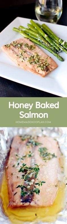 Honey Baked Salmon! Sweet, flaky salmon baked in foil.   HomemadeHooplah.com