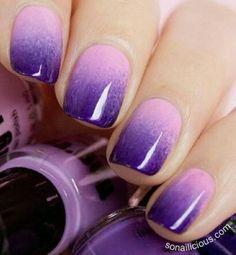 purple ombre nails .