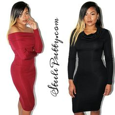 Get our Nina Crowl Neck Midi dress. Worn on or off the shoulders and comes in black and burgundy! Available now on SteelePretty.com