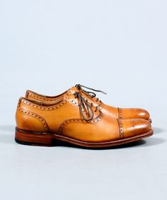 Grenson Tom Classic Semi Brogue Shoe in Tan Leather - Grenson - Shop by Brand