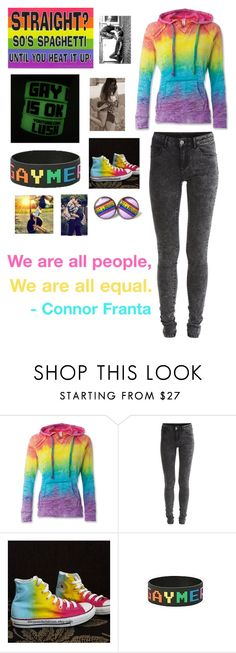 """Gay/Bisexual/Lesbian pride"" by supernaturalcliche ❤ liked on Polyvore featuring VILA and Converse"