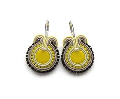 Lemon Yellow Round Soutache Earrings by mintESSENCE on Etsy, $44.00