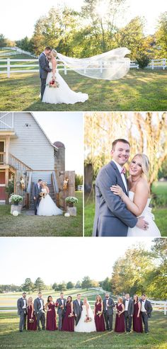 Richmond Virginia | Amber Grove Wedding by Limefish Studio Photography | Rustic Fall Wedding | Long Veil | Bride and Groom Portraits | Wedding Party | Marsala Bridesmaid Dresses | Barn Wedding