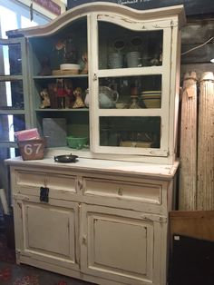 Vintage Farmhouse White Distressed Cupboard Cabinet by VintageAnthropologie on Etsy