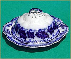 Flow Blue: NORMANDY butter dish (3 pc)