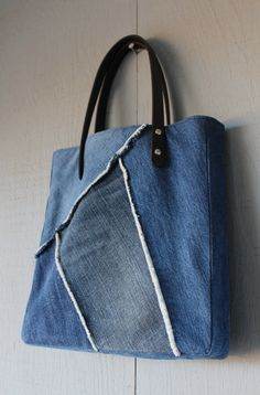 Denim Multi Frayed Patch Slouchy Tote with Leather Straps, Two Interior Pockets and Lined with a Blue Cotton Fabric by AllintheJeans on Etsy
