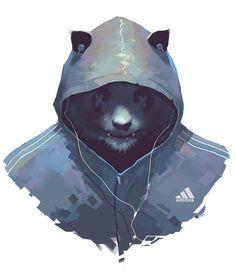 Techno Panda, Costas Haritos on ArtStation at https://www.artstation.com/artwork/techno-panda: