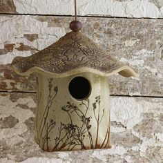 Bird House, Ceramic Hand Built Bird House, Slab Built bird house, Floral, Christmas Gift, Mothers Day Gift, Unique Gift, White Stoneware, Garden Themed, Antique Lace, Garden Decor approximately 8 tall x 7 wide These hand built ceramic bird houses are pretty heavy duty. They are #decorativebirdhouses #birdhouses