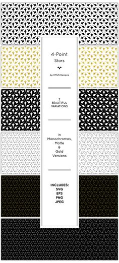 Galaxy Pattern Set by RosemaryHMJS A star pattern design. Includes 2 variations and outlined. Monochrome, matte and gold versions for each variation includ Star Patterns, Fabric Patterns, 4 Point Star, Galaxy Pattern, Design Art, Graphic Design, Star Wars, Pattern Illustration, Matte Gold