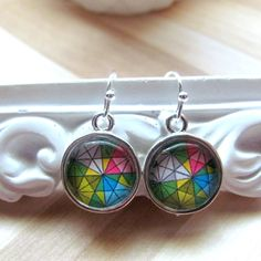 Picture earrings Colorful earrings Geometric earrings Boho earrings Glass…