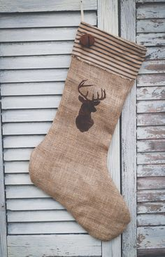 Handmade Burlap Christmas Stocking with black by janes2daughters