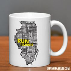 Illinois Runner State Runner Collection Mugs. Exclusively from GoneForaRun.com #running #runner