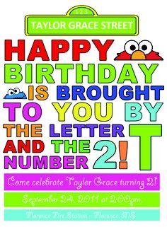 Sesame Street Birthday Invite for Sadie Lego Party Invitations, Sesame Street Birthday Invitations, 2nd Birthday Invitations, Free Printable Birthday Invitations, Elmo Birthday, 2nd Birthday Parties, Happy Birthday, Invitation Wording, Invitation Templates