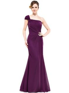 Trumpet/Mermaid One-Shoulder Floor-Length Chiffon Bridesmaid Dress With Ruffle (007051363) - JJsHouse