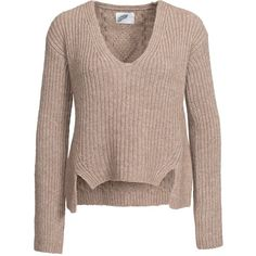 Non Sense Knitted V-Neck found on Polyvore featuring tops, sweaters, shirts, jumpers & cardigans, white, womens-fashion, white long sleeve top, v neck sweater, long sleeve jumper and white v neck sweater