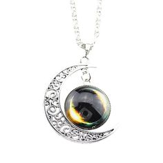 * Penny Deals * - FOY-MALL Fashion Crescent Moon and Star Sky Time Gem Pendant Necklace XL1189 ** More info could be found at the image url.