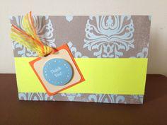 Thank you card, orange, neon yellow, grey & blue.  ribbon