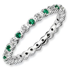 Sterling Silver Stackable Emerald & Diamond Ring on Etsy, $65.00