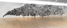 Lesley Dill | Lesley Dill, Rush, 2006-2007, metal foil, organza, wire, 240 x 720 x 6 inc