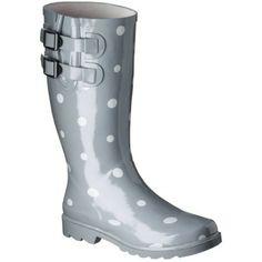 Women's Novel Dot Rain Boots - Grey 6