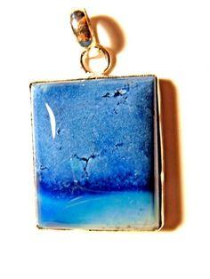 "Handmade Blue Agate Pendant 2"" green"