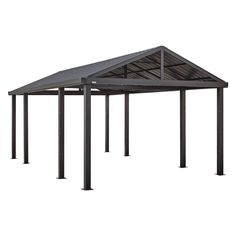 The SOJAG Inc. Somara 12 x 20 ft. Steel Carport is a cosmopolitan carport, designed to be set up by the DIYer. Protect your vehicle from the weather. Aluminum Gazebo, Steel Carports, Carport Kits, Carport Designs, Roof Styles, Shade Structure, Samara, Galvanized Steel, Hanging Lights