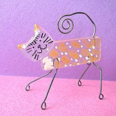 Fused glass animal creations... with wire legs and tail!
